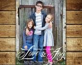 LOVE and JOY...Custom Photo Holiday Card...by KM Thomas Designs