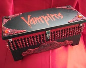 One of a kind Halloween Vampires Treasure Wood Box with Lock and Key Signed and dated by Artist