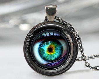 Eye in a Camera Lens Necklace, Photographer Jewelry ,Camera  Art Pendant,  Lens Necklace,