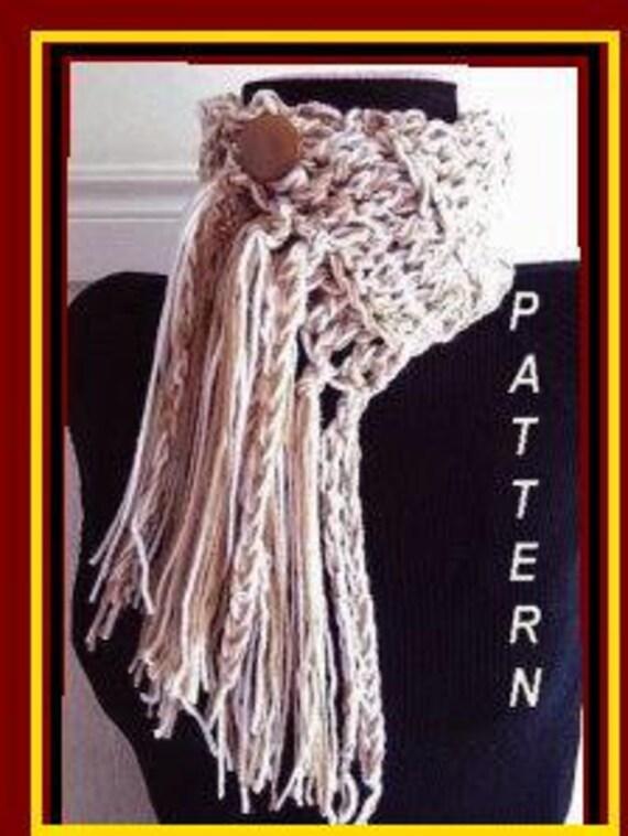 Crochet Scarf Jumbo Fringed Scarf, CROCHET PATTERN scarf num 202,  beginner level,  (knitted  pattern num 201.) instant download