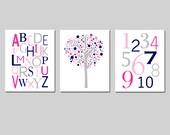 Kids Wall Art Trio - Set of Three 8x10 Nursery Prints - Modern Alphabet, Numbers, Tree Dot - CHOOSE YOUR COLORS