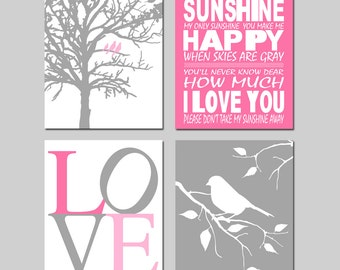 Baby Girl Nursery Art - You Are My Sunshine, Love, Birds in a Tree, Bird on a Branch - Set of Four 8x10 Prints - CHOOSE YOUR COLORS