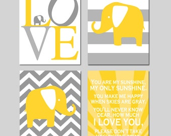 Yellow and Grey Elephant Nursery Art - Love, Chevron Elephant, You Are My Sunshine Set of 4 Prints for Nursery Decor - CHOOSE YOUR COLORS