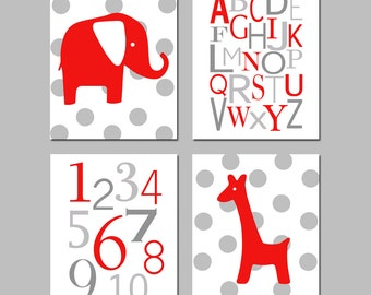 Red Nursery Art Set of 4 Red and Grey Nursery Decor Prints - Polka Dot Elephant and Giraffe, Alphabet and Numbers - CHOOSE YOUR COLORS