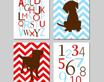 Puppy Dog Nursery Art Quad - Set of Four 8x10 Prints - Modern Alphabet, Numbers, Chevron Puppy Dogs - CHOOSE YOUR COLORS