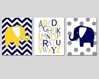 Navy Blue Yellow Baby Boy Nursery Art Trio - Set of Three 11x14 Prints - Chevron Elephant, Alphabet, Polka Dot Elephant - CHOOSE YOUR COLORS
