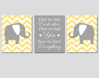 Pale Yellow Gray Grey Nursery Art Trio - First We Had Each Other Quote and Chevron Elephants - Set of Three 8x10 Prints - CHOOSE YOUR COLORS