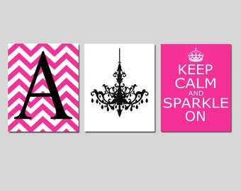 Keep Calm and Sparkle On, Chevron Monogram Initial, Chandelier Trio - Set of Three 11x14 Prints - CHOOSE YOUR COLORS - Teen Girl Bedroom Art