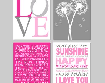 Girl Nursery Playroom Art Set of 4 Prints for Girl Playroom Rules, Dandelions, You Are My Sunshine, Love - CHOOSE YOUR COLORS