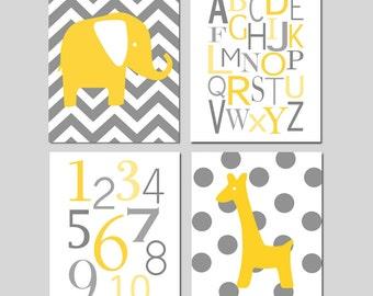 Yellow Gray Nursery Art Quad - Chevron Elephant, Modern Alphabet, Numbers, Polka Dot Giraffe - Set of Four 11x14 Prints - CHOOSE YOUR COLORS