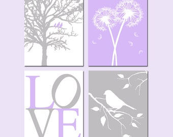 Purple and Gray Nursery Art - Set of Four 8x10 Nature Prints - LOVE, Birds in a Tree, Dandelions, Bird on a Branch - Choose Your Colors