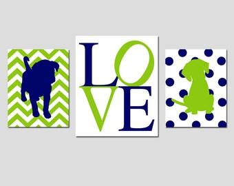 Puppy Dog Nursery Art Trio - Set of Three Prints - 8x10 and 11x14 - Chevron Puppy, Love, Polka Dot Puppy - Kids Art - CHOOSE YOUR COLORS