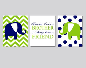Twin Boy Nursery Art - Set of Three 8x10 Prints - Chevron Stripe Polka Dot Elephant, Because I Have A Brother Quote - CHOOSE YOUR COLORS