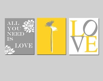 All You Need Is Love - Set of Three Modern Floral Coordinating 11x14 Prints - CHOOSE YOUR COLORS - Shown in Yellow, Gray, Black, and White