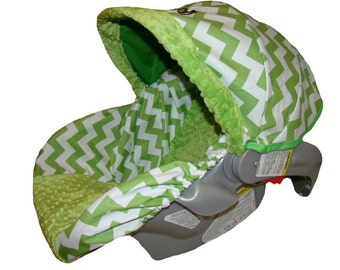 Baby Car Seat Cover - Infant Car Seat Cover - Carrier Slip Cover with Canopy - Carseat Cover for Baby Girl or Baby Boy - Green Chevron