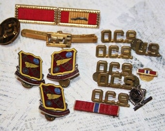 MILITARY Bars Pins- Officer Candidate School Pins- Vintage Lot- Military Uniform Pin- Wartime Buttons