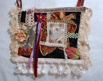 Edwardian GIRL VELVET COLLAGE  Rich Red Colors Sweet Silk Print, Vintage Lace & Tatting Trims Leaf Flower, Handmade Whimsical Fabric Art