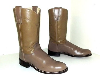 Tan Brown Roper style Bronco brand cowboy boots in a cowgirl size 6.5 M with original box