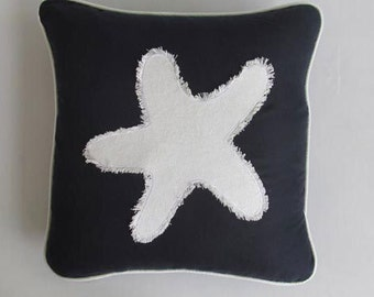 white star fish on navy pillow custom made in taupe navy and white