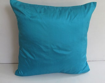 STOCK CLEARANCE 40% OFF-tuquoise blue silk throw pillow 18 inch 2 pcs  in  stock  ready  to  ship