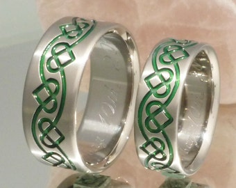 Green Irish Celtic Titanium Wedding Band Set His And Hers