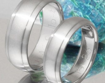 Titanium Wedding Band Set - His and Hers Matching Rings - stn20