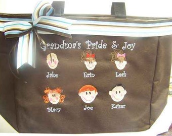 Grandmother tote bag Grandma Mom Mother purse PERSONALIZED Grandchildren or children's names added by faces to resemble them