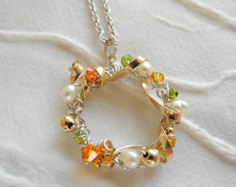 Sterling Silver Necklace Gold Fill White Pearls Orange Green Yellow Swarovski Crystals Spring Fashion