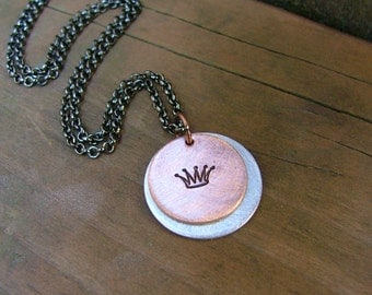 Simply Stated Custom Hand Stamped Mixed Metal Copper And Aluminum Layered Round Tag Necklace by MyBella