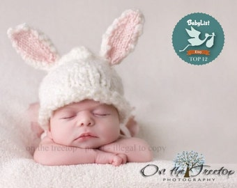 Bunny Hat, Newborn  Bunny Hat, Selected Top 12 Etsy Gift by BabyList White Bunny Hat with Pink Ears for Newborn and Baby, Photography Prop