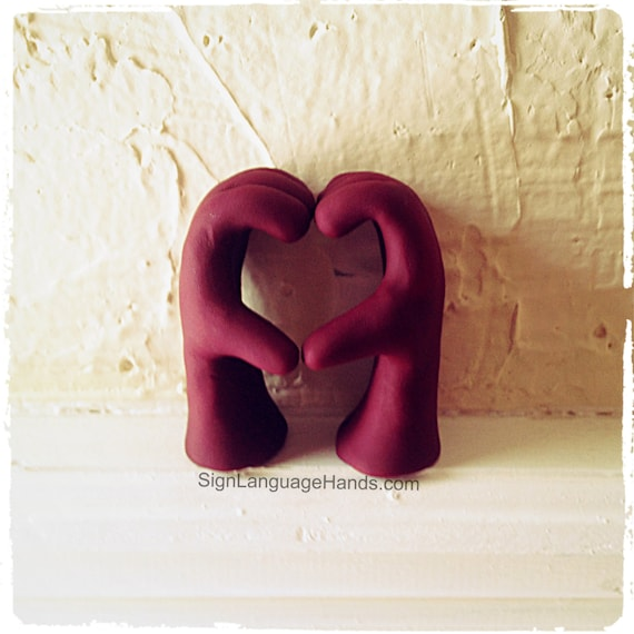 Heart Formed Hands - Unique Hand Art - Gift for Mom - Gift for Dad - I Love You- Sentimental Keepsake - Clay Sculpture - Customizable Color