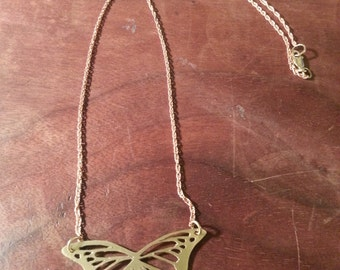 Raw Brass Butterfly Necklace