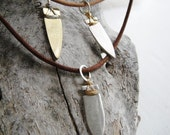 SALE Tiny Arrowhead Necklace on Leather 18 in