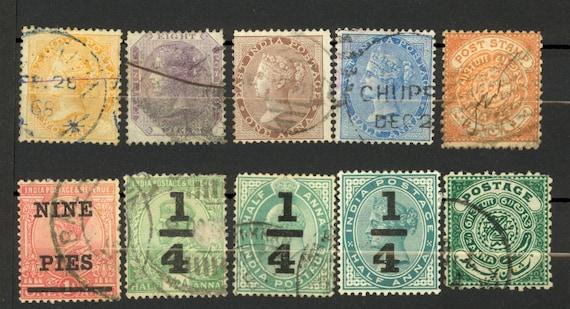10 India Stamp Lot East India Revalue 1860s Etc Pikurpie