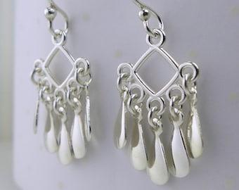 Dangle Earrings Sterling Silver Whimsical Drops Dainty Elegant Light Silver Dew Chandelier Earrings Dangling Earrings Handmade Raindrops