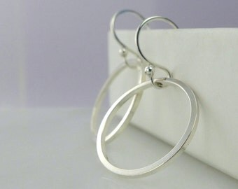 Sterling Silver, Silver Hoops, Circle Earrings, Minimalist Hoops, Dangle Earrings, Modern Simple, Silver Earrings, Elegant Bare Silver