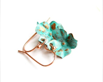 SALE - Turquoise Verdigris Flower Dangle Earrings Patina Charming Buds Floral Garden Boho Jewellery