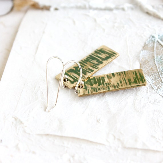 Olive Green Patina Dangle Earrings Brass Rectangle Fern Striped Grass Nature Jewellery