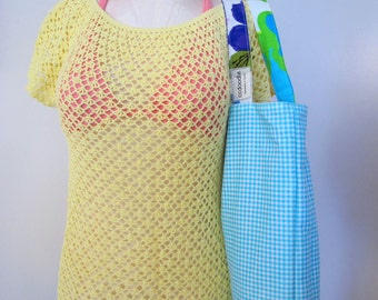 Large Reversible Tote Bag Beach Bag Vintage Fabrics Size Large -  ready to ship