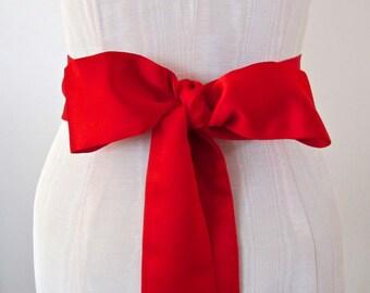 Red Matte Satin Sash, Wedding Sash, Bridal Sash, long length