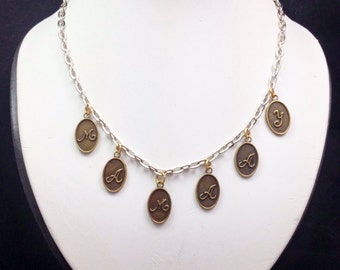Clearance Sale MAMAAY Necklace with Antique Bronze Letters and Silver Chain