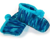 Crocheted Slippers, Turquoise Slippers, Blue Slippers, Slippers for Men, Slippers for Her, Warm Slippers, Washable Slippers, Adult Slippers
