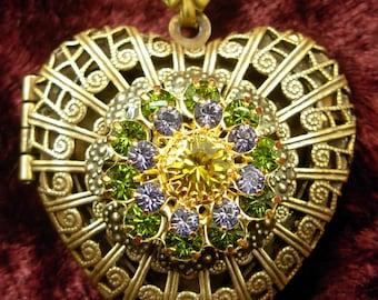 Filigree Heart Vintage Solid Brass Bronze Locket And Chain Necklace Tanzanite Olivine Rhinestones Miss-art SparklingTreasures2U