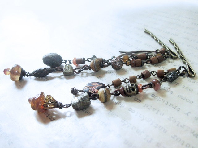 Fanciful Devices, rustic, victorian, rose, horse, etsy, earrings, tribal, jewelry, art