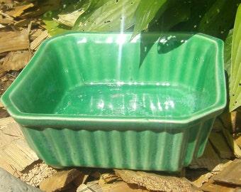 Vintage Green Ceramic Dish - Marked USA - Ribbed Green Planter Base - Ceramic Planter Dish - Square Green Dish - Ceramic Dish