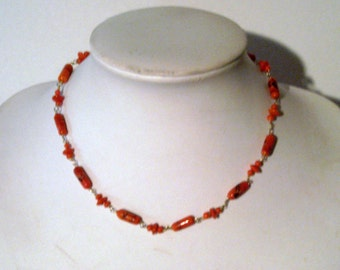 Vintage Orange Necklace - 1980s Orange Necklace - Orange Beaded Necklace - Orange & Black Necklace - Gold Tone Chain - Small Necklace