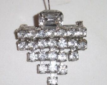 Art Deco Rhinestone Brooch - Vintage Pin - Rhinestone Jewelry - Silver Tone Pin - Dangle Pin - Faux Diamonds - Fancy Small Rhinestone Pin