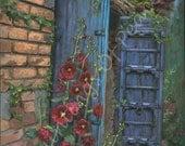 Hollyhocks - Blue Doors - England - landscape - 11 x 14 Print