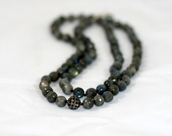 Faceted Labradorite and Diamond Long Knotted Necklace
