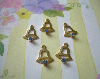 5 Vintage Swarovski Crystal Bell Charms Sapphire Blue Wedding Favors